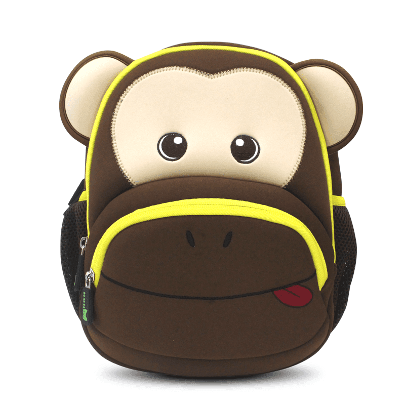 NH020 Neoprene Kid Backpack Cute Zoo animal monkey Cartoon Bag for boys