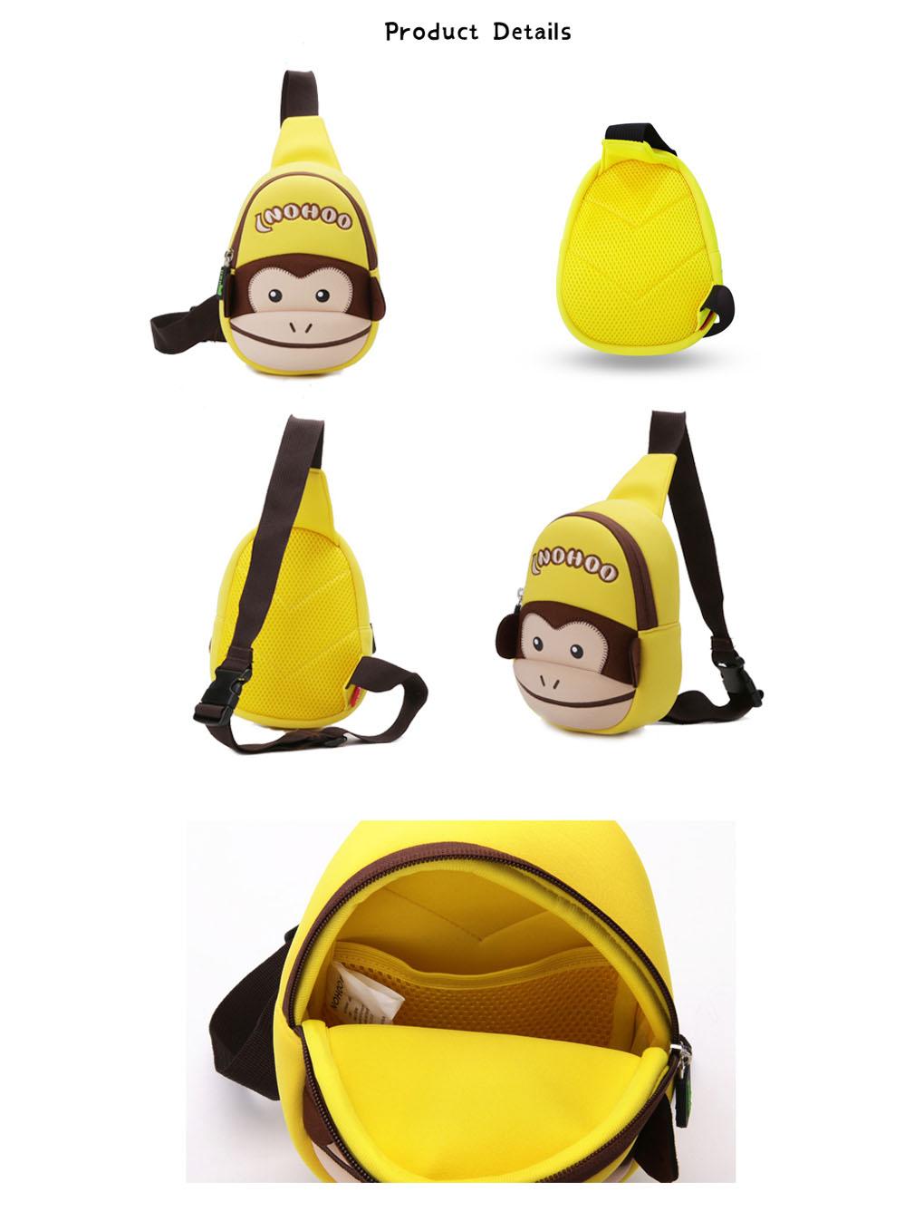 Nohoo Children Products-Kids Neoprene Waterproof Cute Animal Monkey Style Lightweight Chest Bag