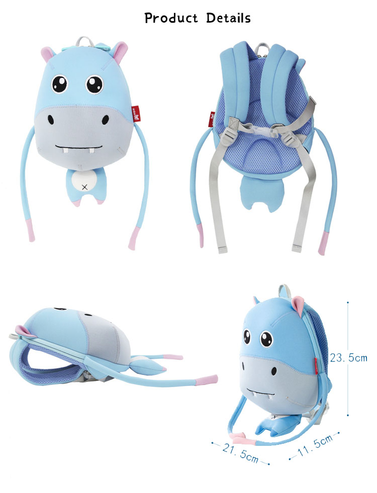 Nohoo Children Products-Design Hippo Cartoon Neoprene Kids Animal Backpack For Young Children