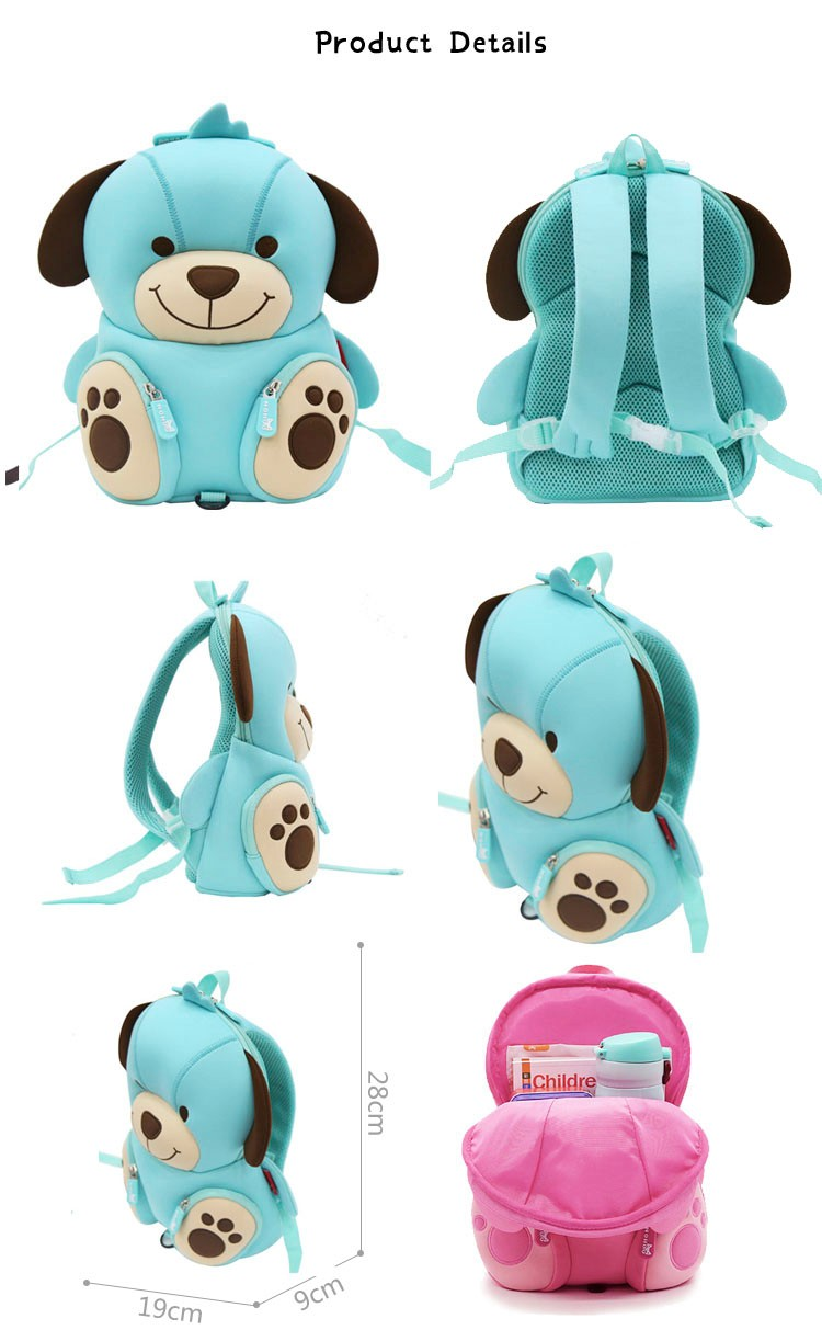 Nohoo Children Products-Hot Sale Soft Cute Blue Dog Kids Zoo Animal Backpack Manufacture