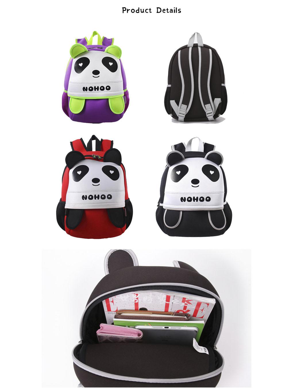 Nohoo Children Products-Neoprene Lovely Style Kids Bag 3d Panda Children Hiking School Bags