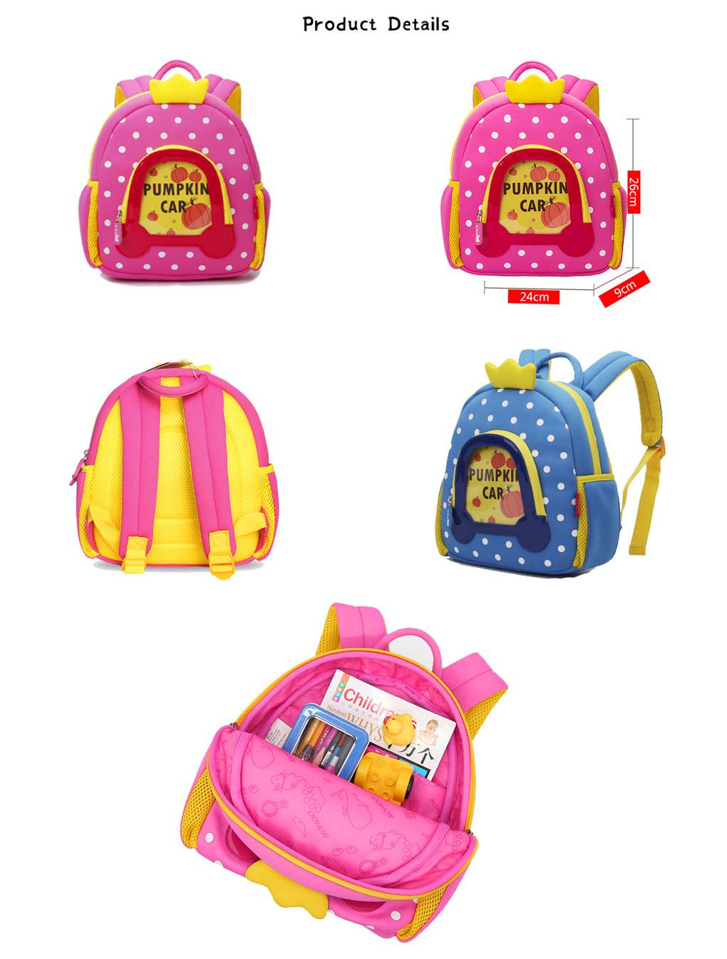 Nohoo Children Products-Lovely Design Cartoon Kids Backpack Neoprene Kindergarten Bag For Girls
