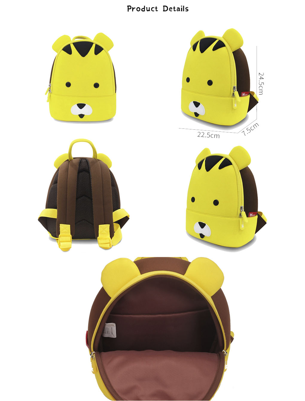 Nohoo Children Products-Professional Tiger Neoprene Kids Backpack Animal Cute Toddler Rucksack