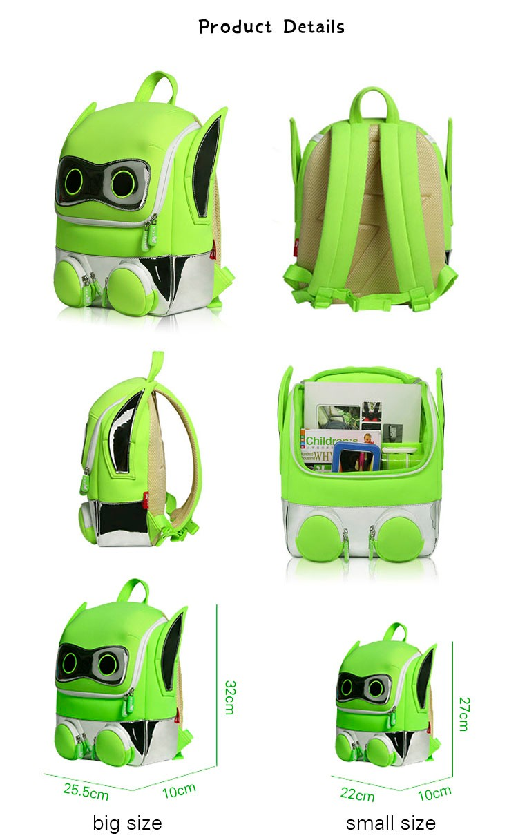 Nohoo Children Products-Primary 3d Students School Bag Neoprene Safety Robot Backpack