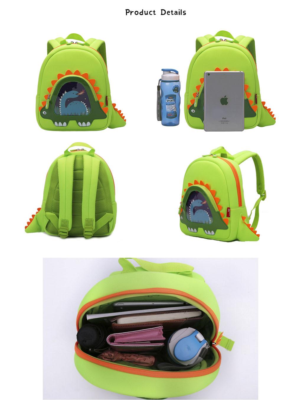 Nohoo Children Products-Hot Sell Neoprene Children Backpack Top Quality Dinosaur Kindergarten