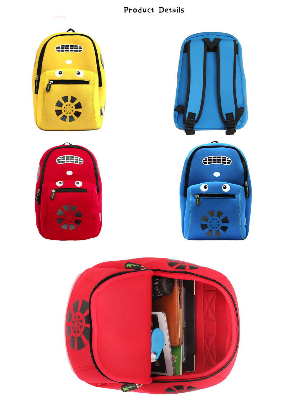 Nohoo Children Products-Nh003 Car Style Children School Bag Fashion Neoprene Backpack For Boys