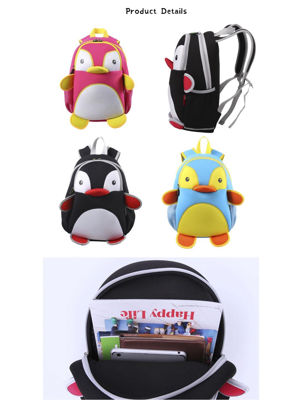 Nohoo Children Products-Find Penguin Style Neoprene Backpack Kids 3d Cartoon Schoolbag For Boys