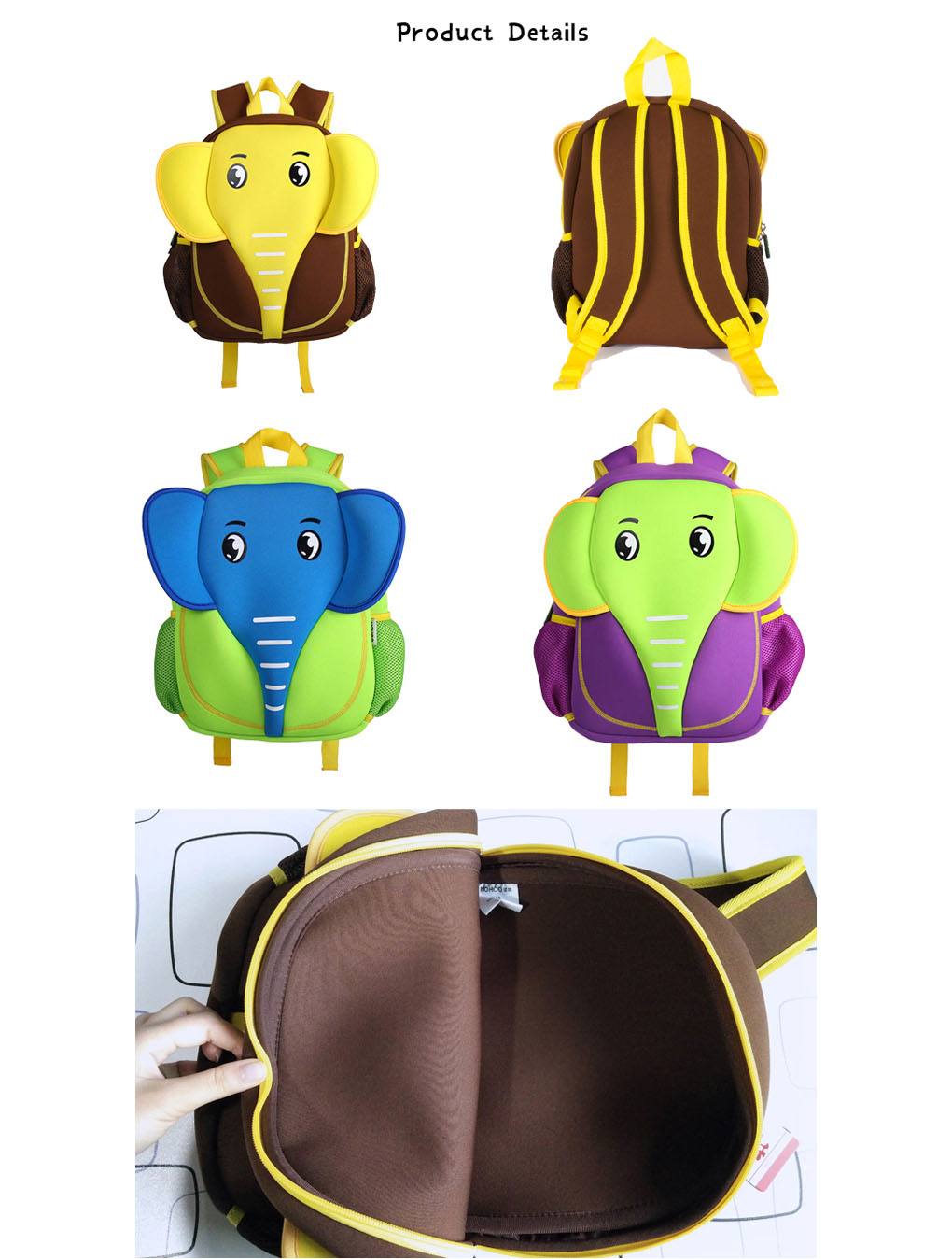 Nohoo Children Products-Elephant Style Waterproof Kids Cute Neoprene Children School Bag Cute