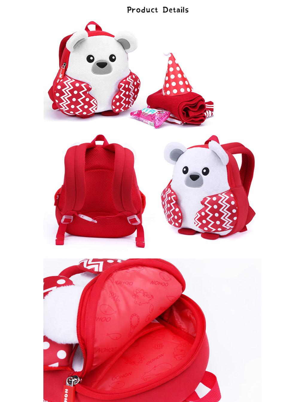 Nohoo Children Products-New Design Cartoon Neoprene Kids Lightweight Backpack With Plush