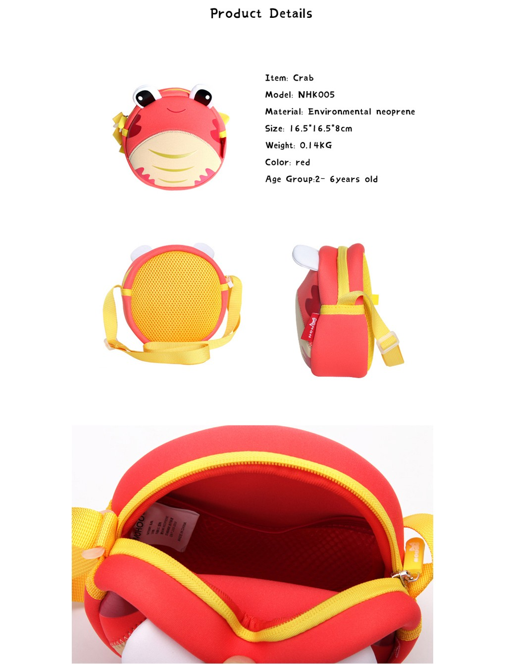 Nohoo Children Products-Neoprene High Quality Crab Lightweight Kids Sling Bag For Kids