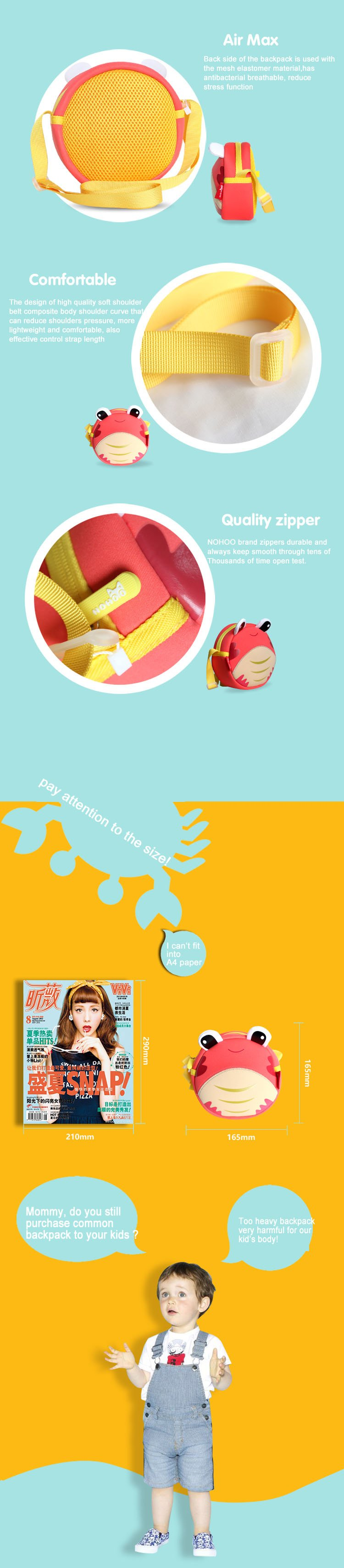 Nohoo Children Products-Neoprene High Quality Crab Lightweight Kids Sling Bag For Kids-3