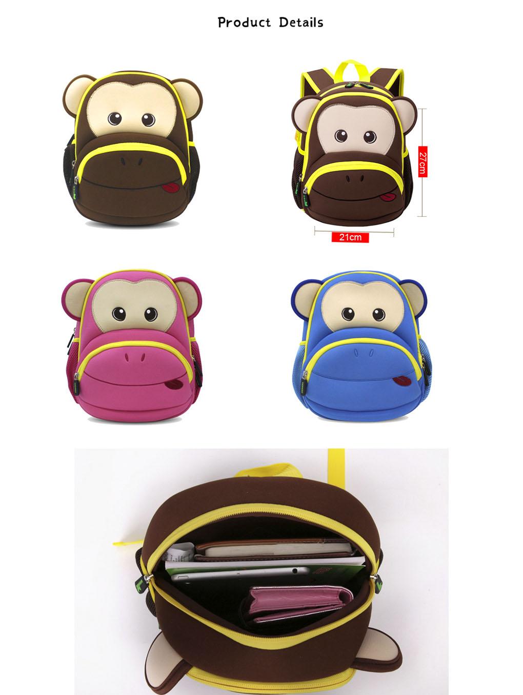 Nohoo Children Products-Find Neoprene Kid Backpack Cute Zoo Animal Monkey Cartoon Bag For Boys