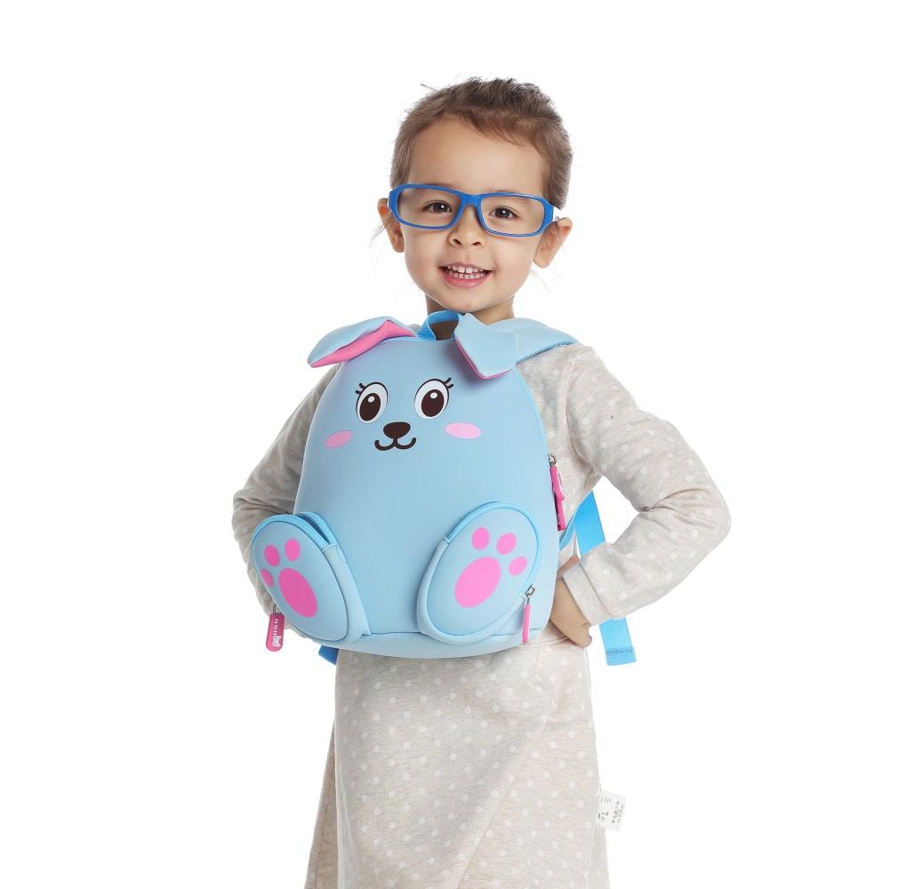 Nohoo Children Products-Nh044 Blue Rabbit Neoprene Kids Cartoon Backpacks For Children-4