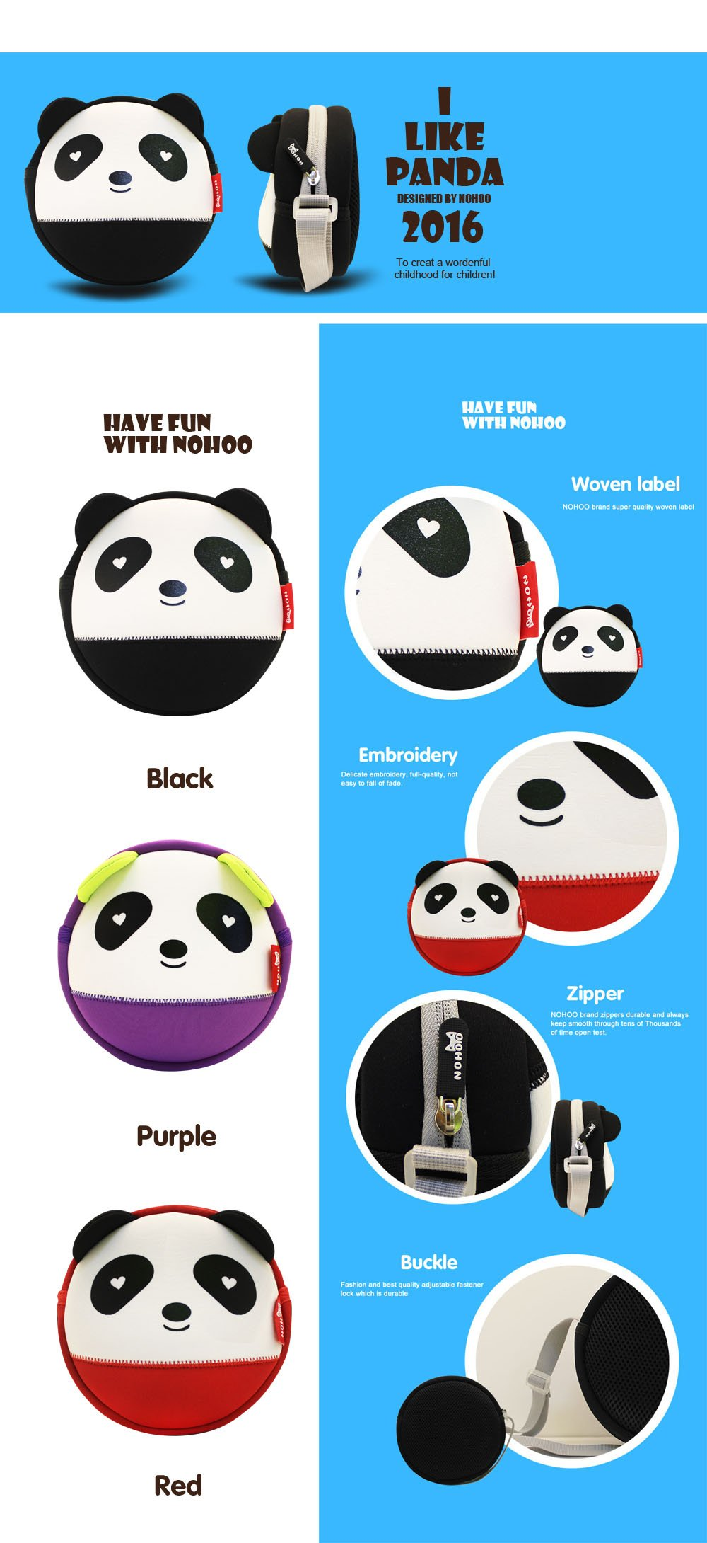 Nohoo Children Products-High Quality Unisex 3d Panda Baby Bag Neoprene Messenger Bag