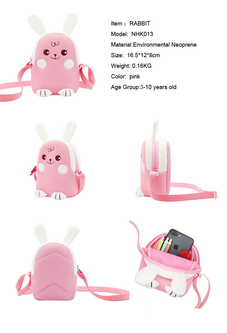 Nohoo Children Products-New Design Pink Rabbit Lovely Cartoon Animal Kids Messenger Bag