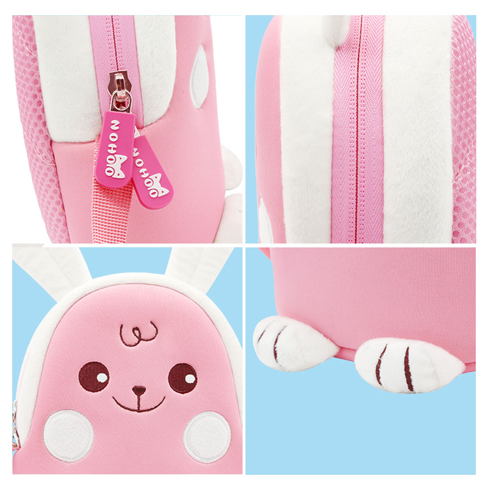 Nohoo Children Products-New Design Pink Rabbit Lovely Cartoon Animal Kids Messenger Bag-3
