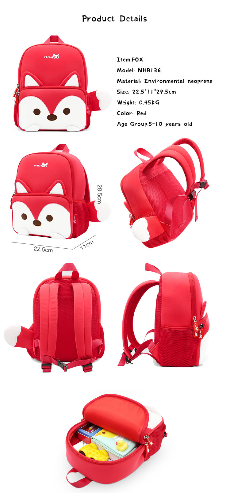 Nohoo Children Products-School Bag For Preschool Child Kids 3d Cartoon Family Backpack