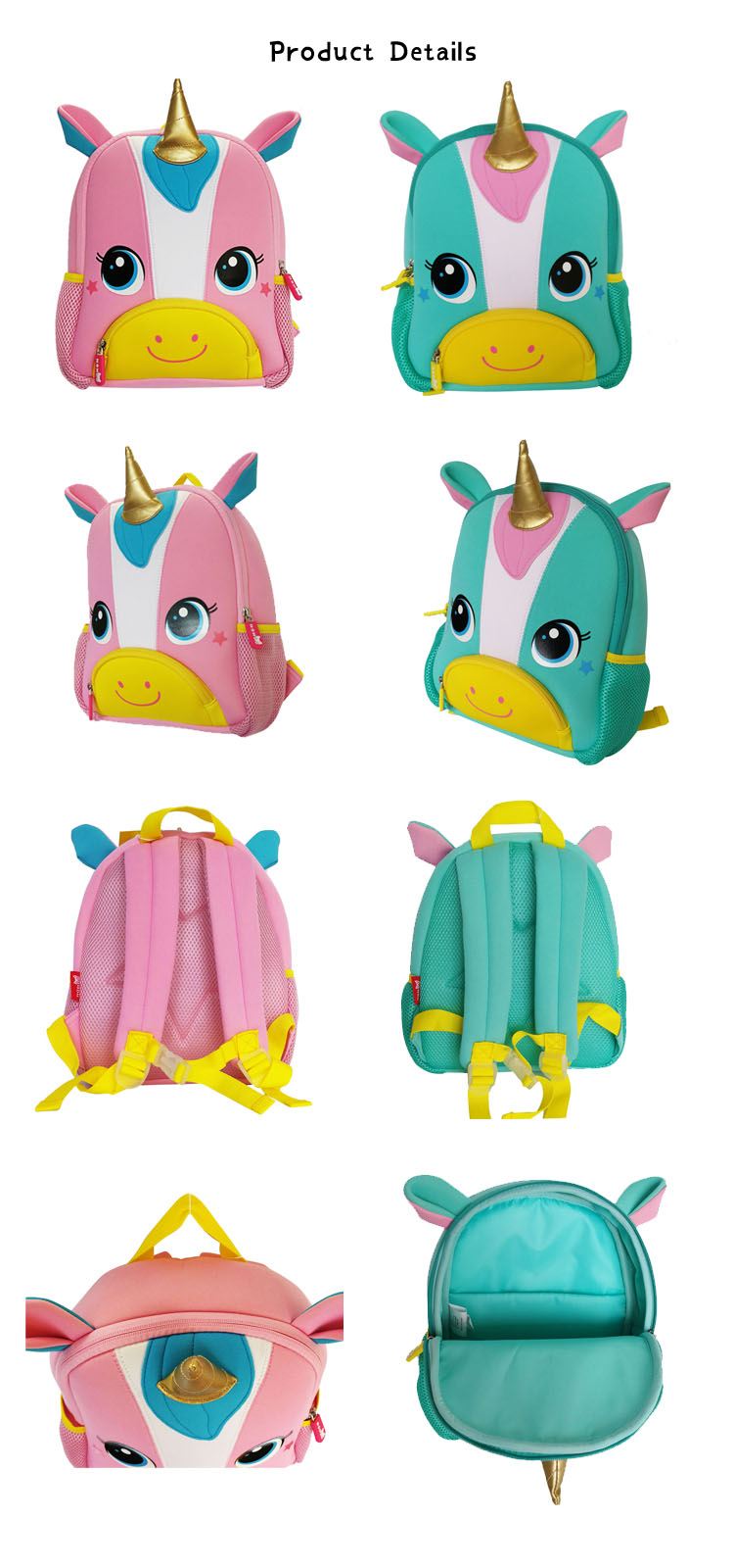 Nohoo Children Products-New Design Soft Children Backpacks 3d Animal Unicorn Kids