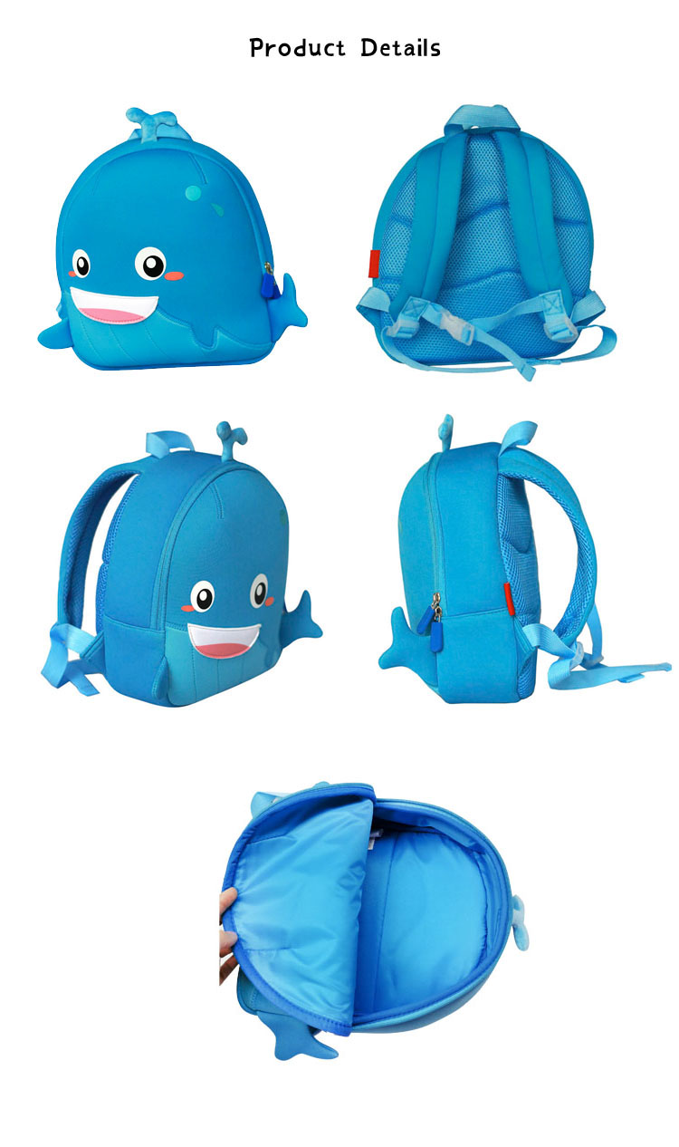 Nohoo Children Products-Manufacturer China Neoprene Children Bag Lovely Whale Backpack