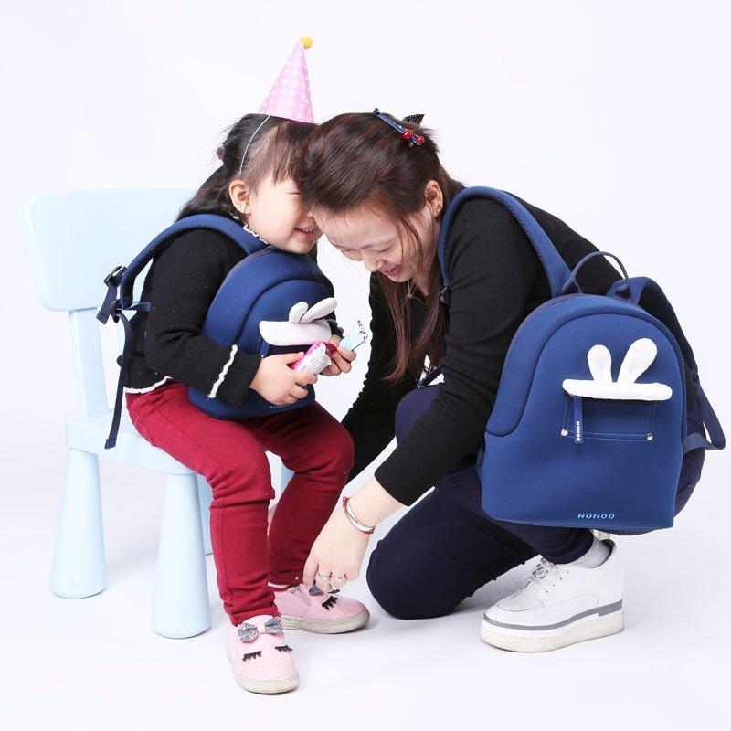 Nohoo Children Products-Blue Rabbit Plush Kids Backpack Preschool Boys Girls Family Backpack-4