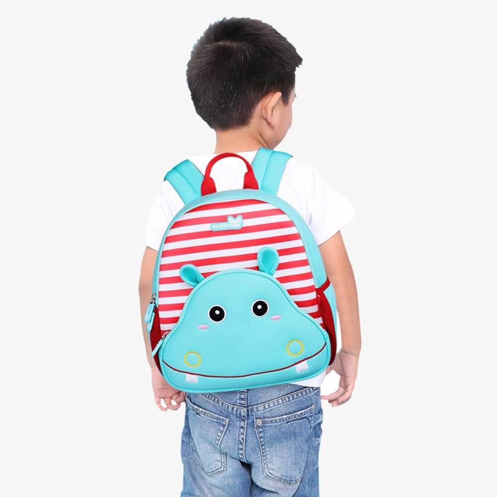 Nohoo Children Products-Gy262 Hippo Lovely Kids Shoulder Bag 3d Cartoon Zoo Kindergarten Book-4