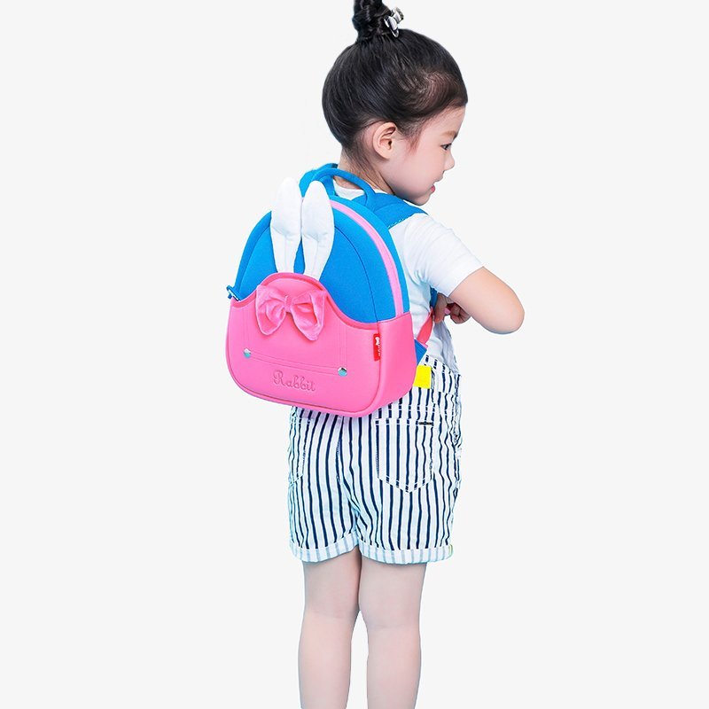 Nohoo Children Products-Nh031 Neoprene Eco Friendly Toddler Backpack 3d Rabbit Backpack For Girl-3