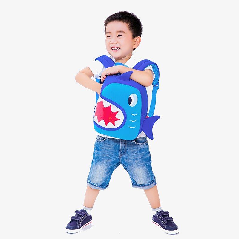 Nohoo Children Products-Nh024 Shark Design Blue Ultra-light Environmental Neoprene Backpacks-3
