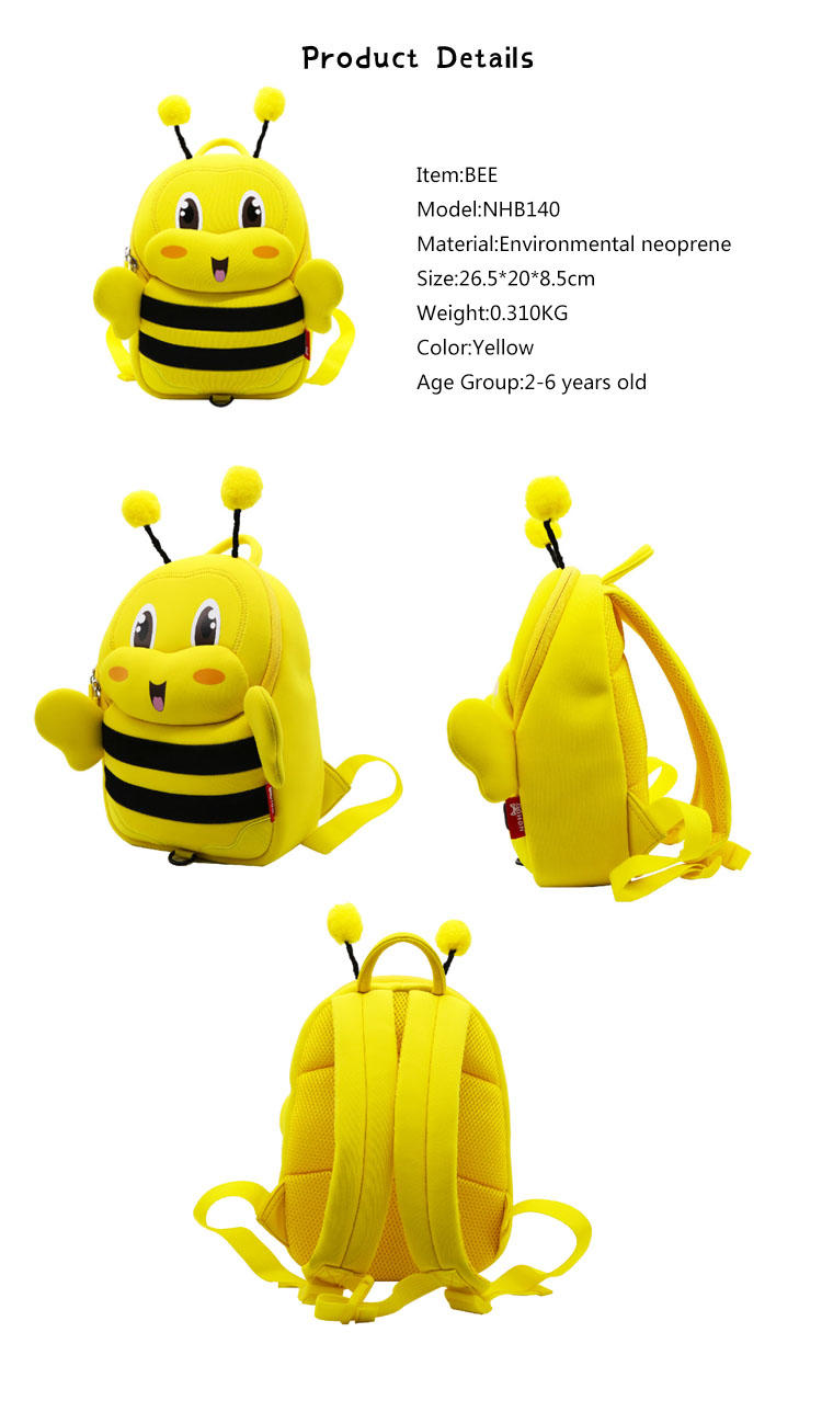 NHB140 Nohoo new arrival bee style kids backpack for kindergarten