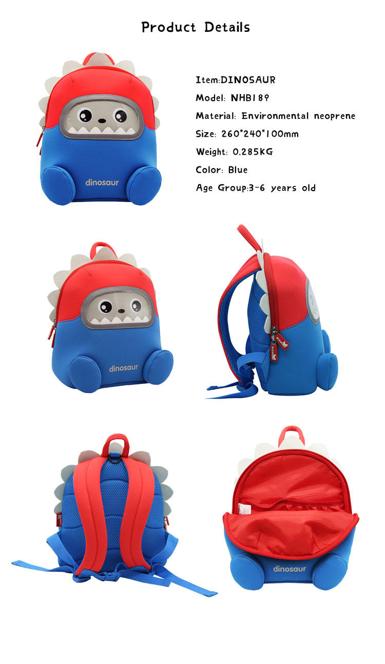 NHB189 Nohoo Waterproof 3D cartoon robot Toddler Backpack for Preschool Kindergarten 3-6 Year