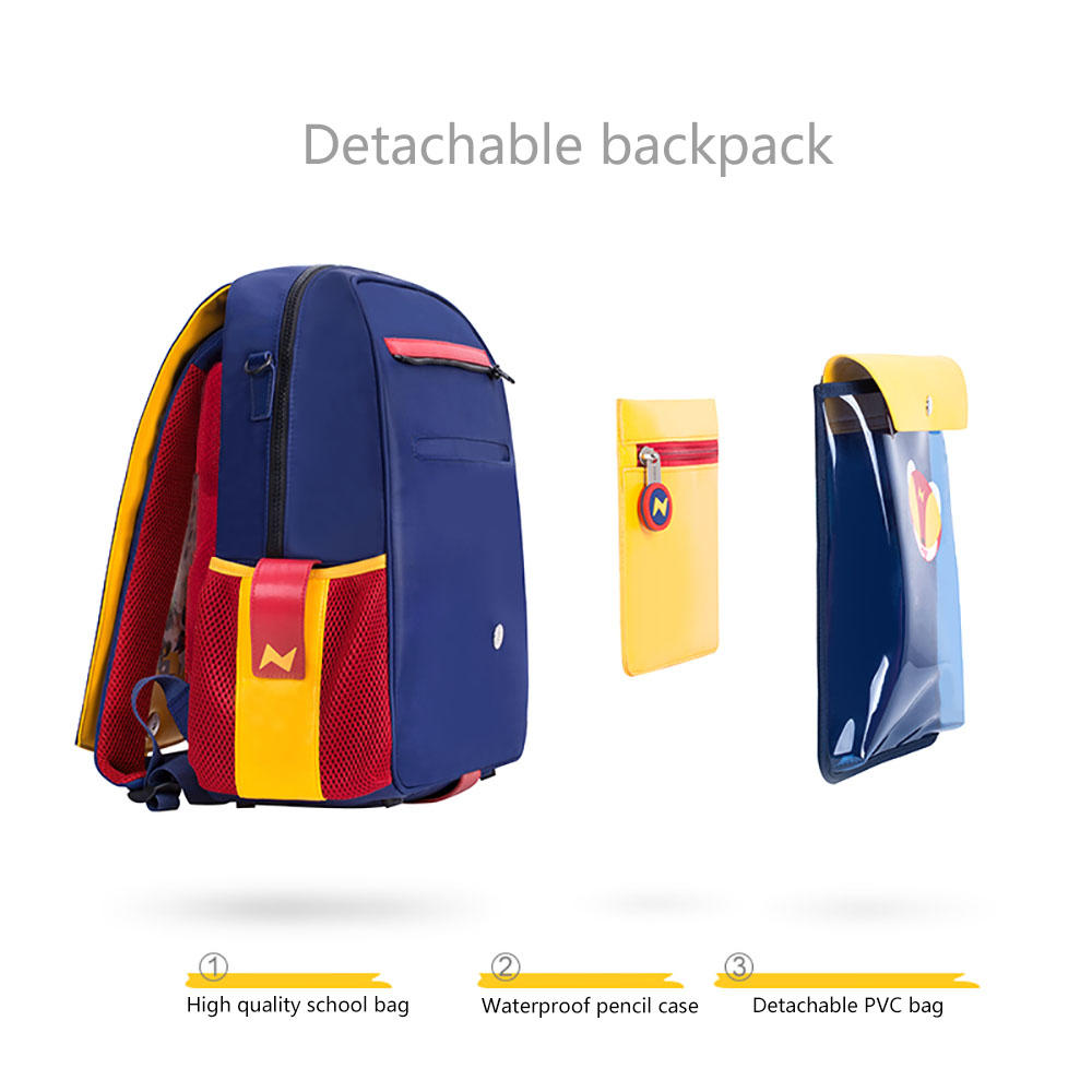 NHZ021-8 new arrival PU and polyester waterproof lightweight primary school student school backpack sets