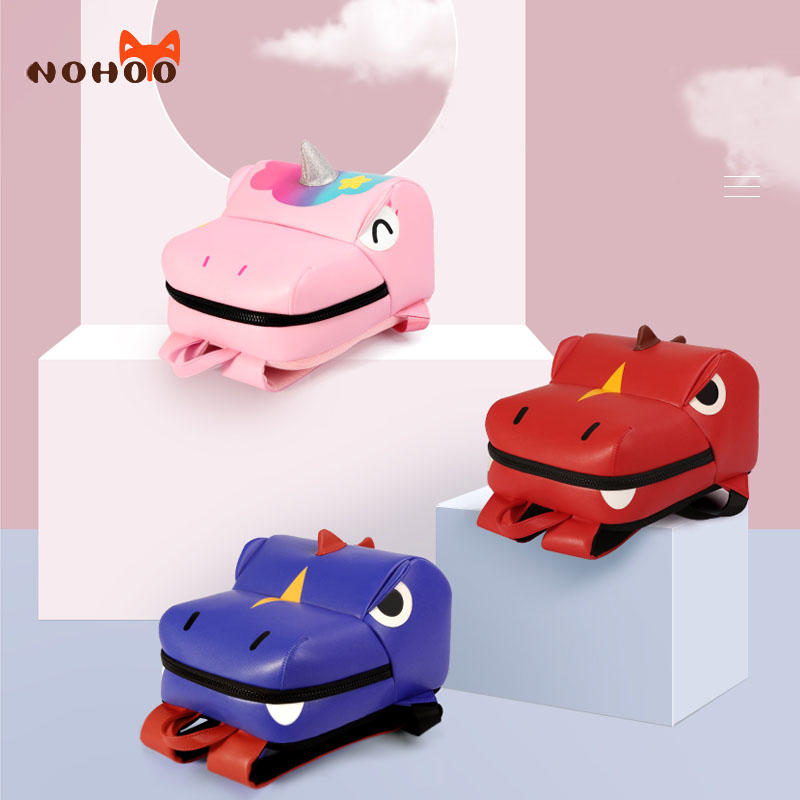 NHB314 Nohoo Wholesale Custom  3D Cartoon PU microfiber kids bags for 2-4 years old