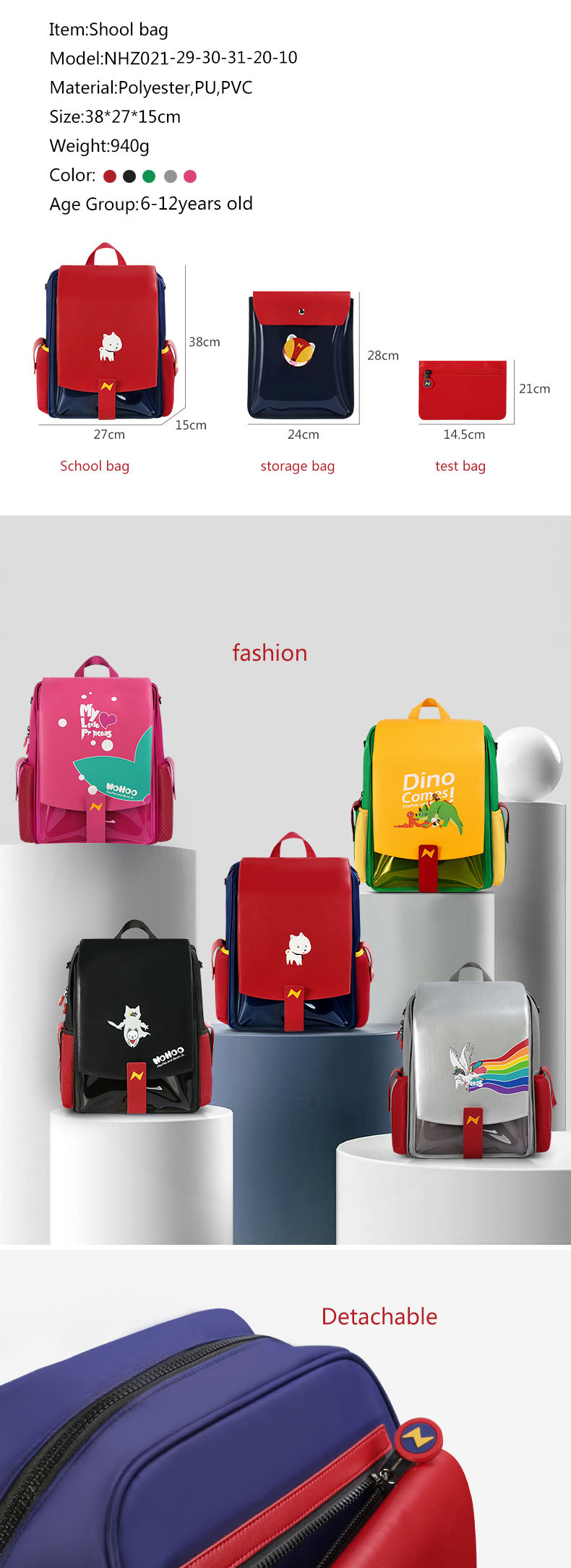 product-Nohoo new design school bag PU PVC Polyester 3 in 1 bags student primary school backpack-NOH