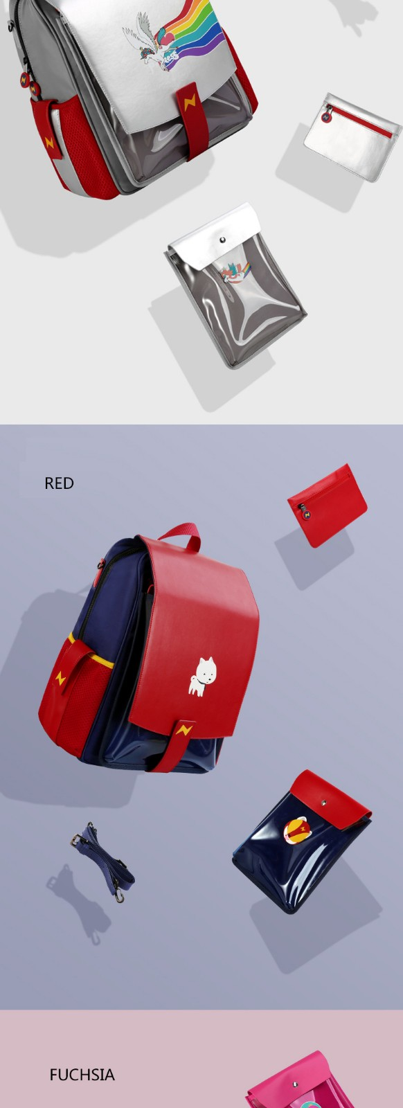 product-NOHOO-Nohoo new design school bag PU PVC Polyester 3 in 1 bags student primary school backpa