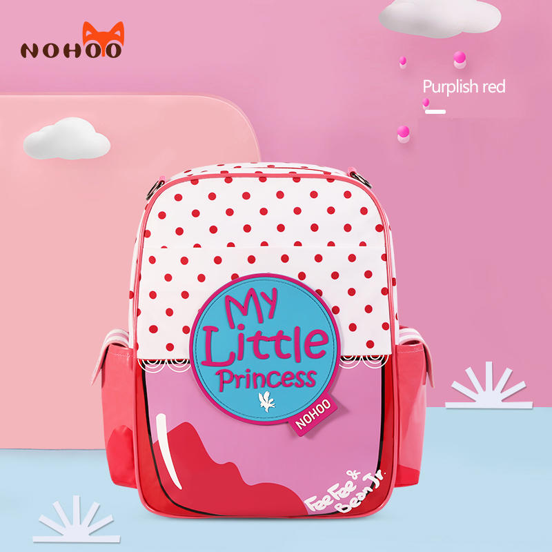 Nohoo 2019 new arrival waterproof lightweight PU 3D cartoon children school bag for girls.
