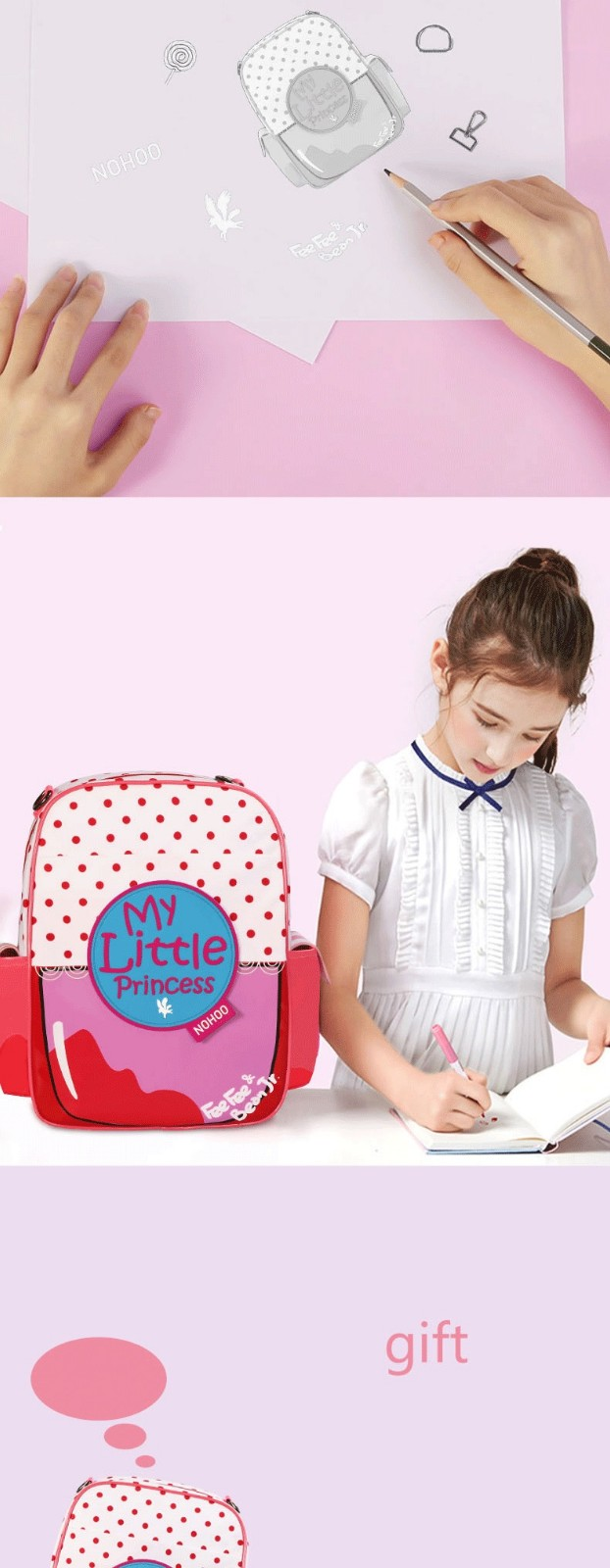 product-Nohoo 2019 new arrival waterproof lightweight PU 3D cartoon children school bag for girls-NO