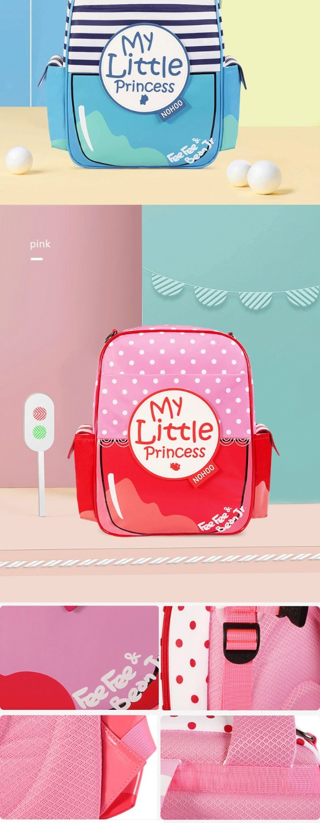 product-Nohoo 2019 new arrival waterproof lightweight PU 3D cartoon children school bag for girls-NO-1