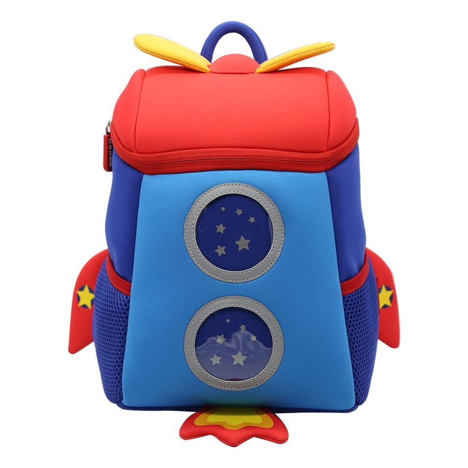 NHB167M Nohoo new arrival lovely rocket 3D neoprene toddler backpack for kids