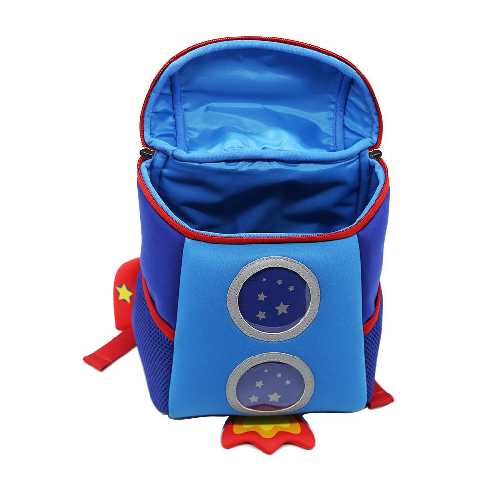 NHB167M Nohoo new arrival lovely rocket 3D neoprene toddler backpack for kids