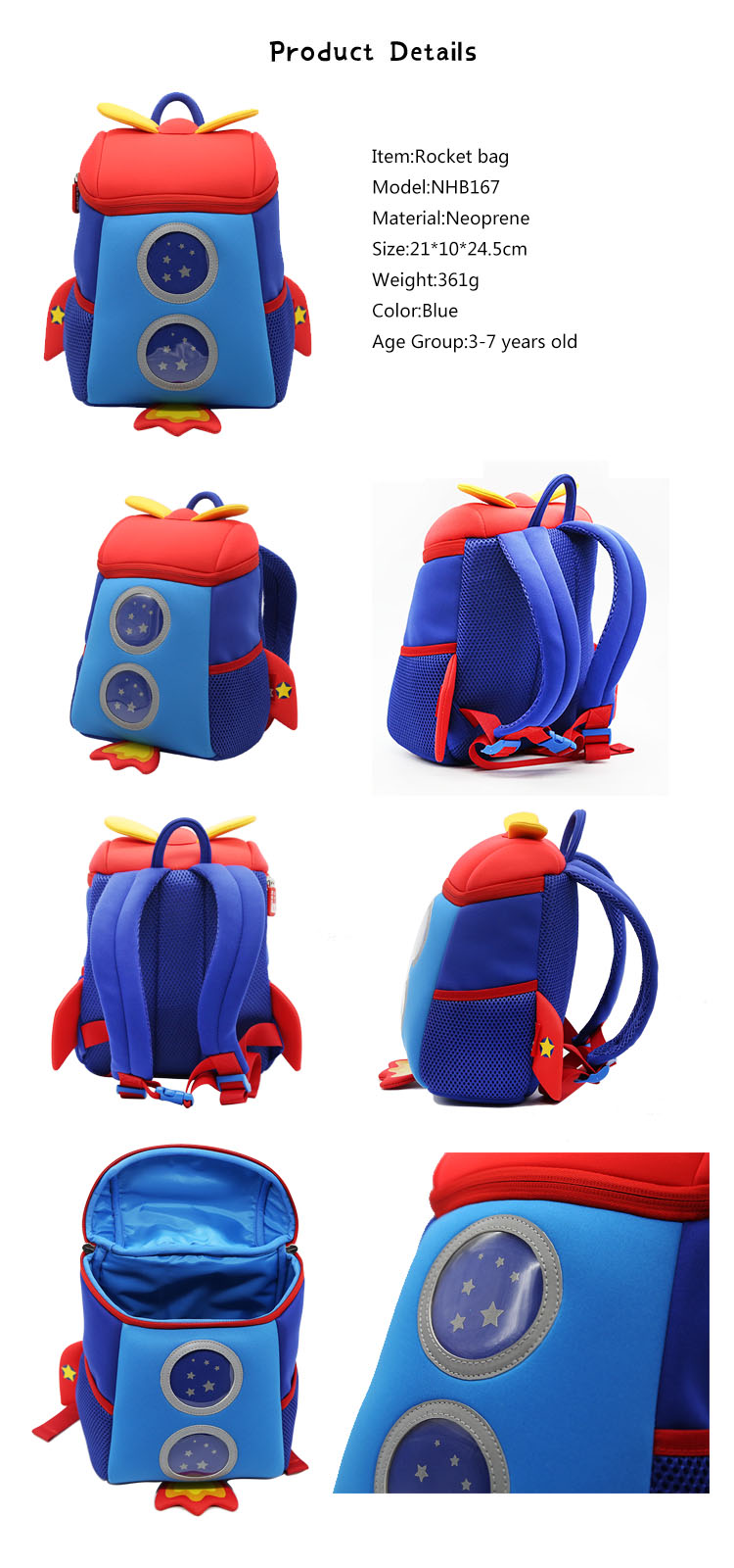 product-NHB167M Nohoo new arrival lovely rocket 3D neoprene toddler backpack for kids-NOHOO-img